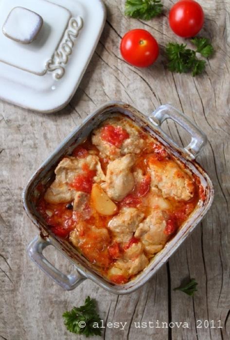 Курка з томатами і гірчицею. Рецепт з фото