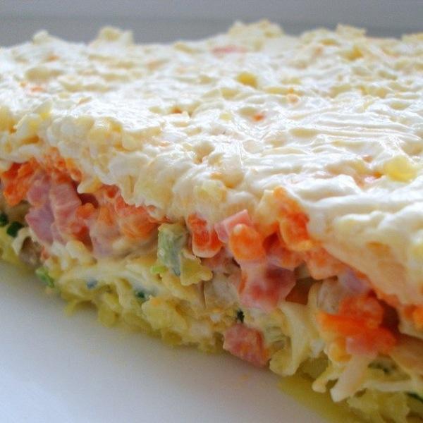 Брат великого»Олів'є» — листковий салат з шинкою і грибами. Рецепт