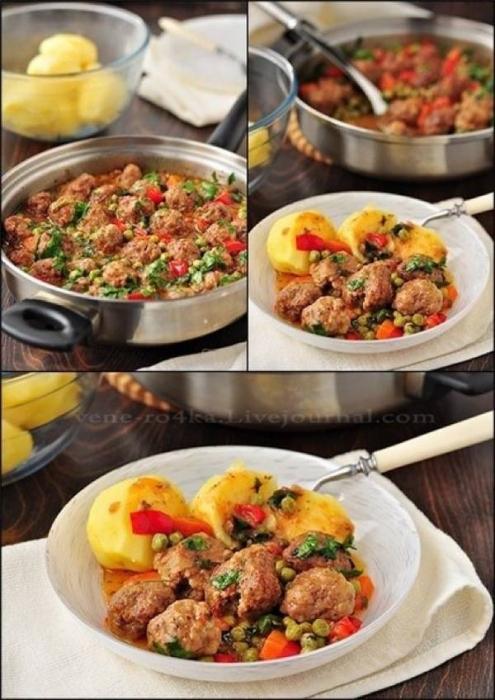 Фрикадельки з овочевим рагу. Покроковий рецепт з фото